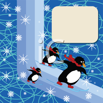Royalty Free Clipart Image of Penguins Skiiing