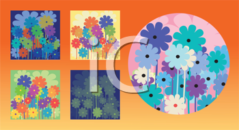 Royalty Free Clipart Image of Floral Designs