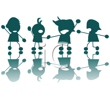 Royalty Free Clipart Image of a Group of Happy Kids