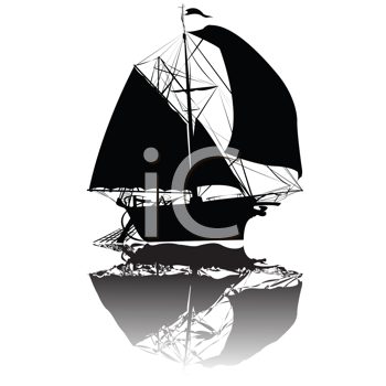 Royalty Free Clipart Image of an Old Fishing Ship