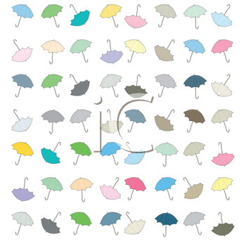 Royalty Free Clipart Image of a Background of Coloured Umbrellas