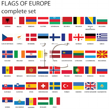 Royalty Free Clipart Image of Flags of Europe