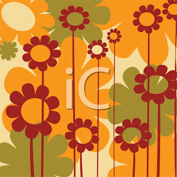 Royalty Free Clipart Image of a Retro Flower Background