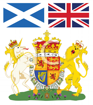 Royalty Free Clipart Image of the Scottish Coat of Arms With Flags at the Top