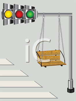 Children swing on a bended traffic lights pole, conceptual graphic