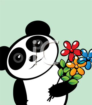 Panda lover with flowers, editable graphic illustration with room for your text