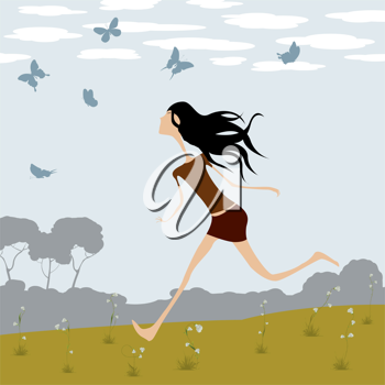 Fantasy illustration, little girl chasing butterflies