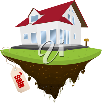 House for sale, conceptual real-estate icon on white background