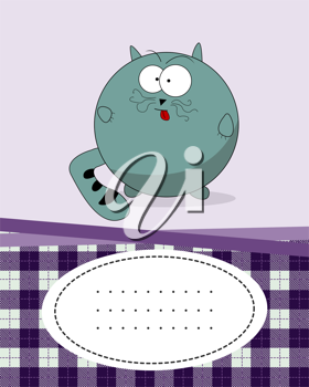 Text card with fat cat, cartoon style character