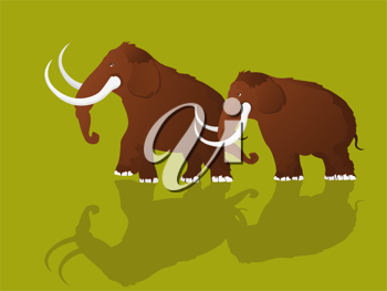 Cartoon style drawing of two mammoths