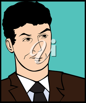 Illustration of a skeptic man in a pop art/comic style