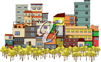 Cartoon drawing of a city with trees and houses