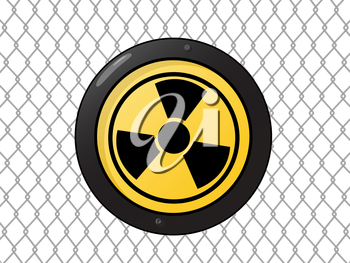 Metallic nuclear sign against a wire fence