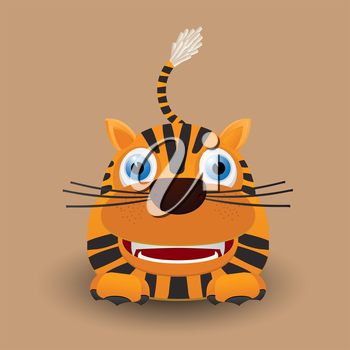 Royalty Free Clipart Image of a Baby Tiger