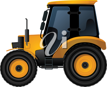 Farm tractor over white background