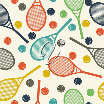 Vintage style pattern design with racket and tennis ball