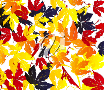 Watercolor autumn leaves illustration, abstract background