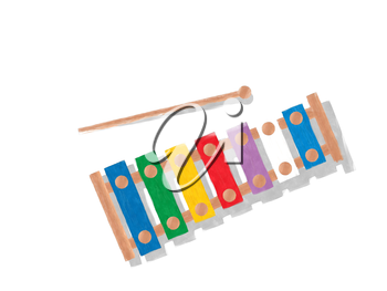 Watercolor rainbow xylophone over white background