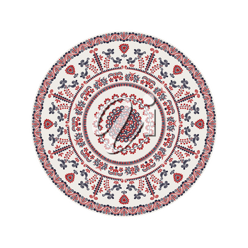 Traditional Hungarian round decorative element, isolated vectorover white background.