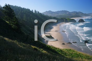 Royalty Free Photo of Crescent Beach at Ecola State Park, Oregon in the Early Morning