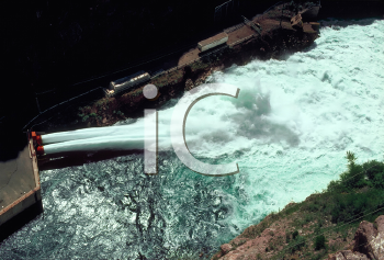 Royalty Free Photo of a Hydro-Electric Dam Water Spillway