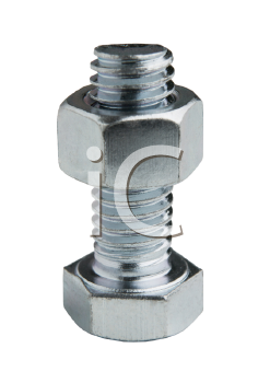 Royalty Free Photo of a Nut and Bolt Isolated From the Background
