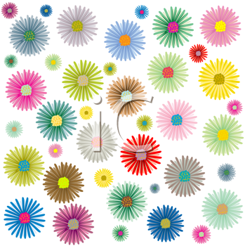 Royalty Free Clipart Image of Coloured Flowers on White