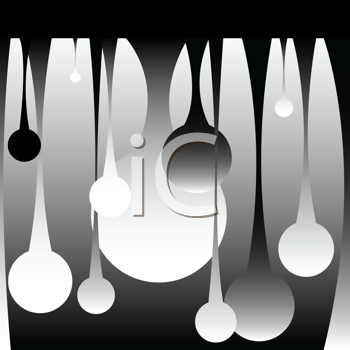 Royalty Free Clipart Image of Drops in Black and White