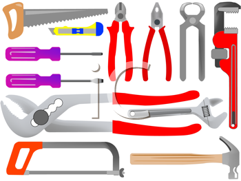Royalty Free Clipart Image of a Collection of Hand Tools