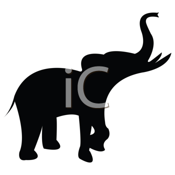 elephant black silhouette isolated on white background, abstract vector art illustration