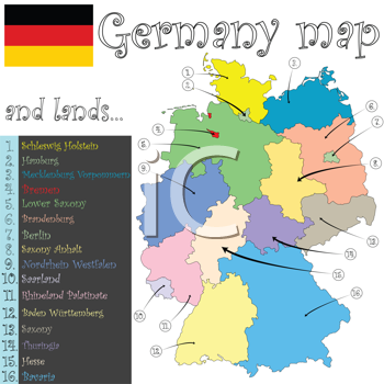 germany map and lands against white background, abstract vector art illustration