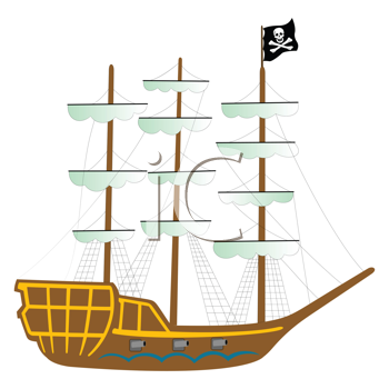 pirate ship isolated on white background, abstract vector art illustration