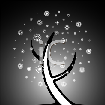 snowy tree composition, abstract vector art illustration
