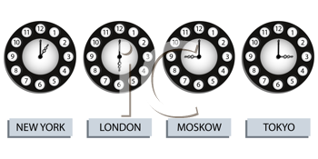 time zone clocks for four different countries against white background, abstract vector art illustration