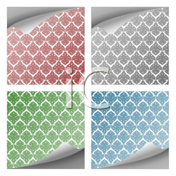 damask curly paper notes collection over white background, abstract vector art illustration