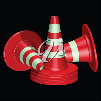red traffic cones with round base against black background, abstract vector art illustration