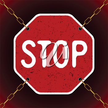 rusty stop sign in chains, abstract vector art illustration