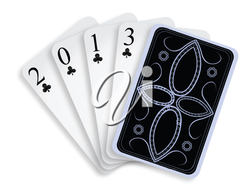 2013 playing cards against white background, abstract vector art illustration; image contains transparency