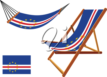 cape verde hammock and deck chair set against gray background, abstract vector art illustration