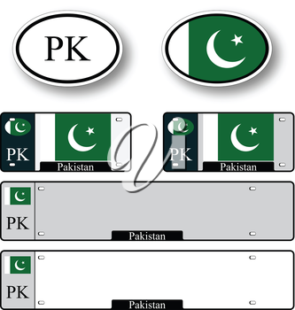 pakistan auto set against white background, abstract vector art illustration, image contains transparency