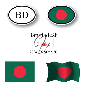 bangladesh icons set against white background, abstract vector art illustration, image contains transparency