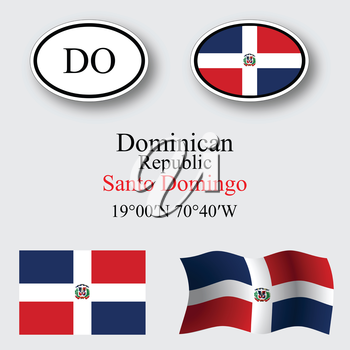 dominican republic icons set against gray background, abstract vector art illustration, image contains transparency