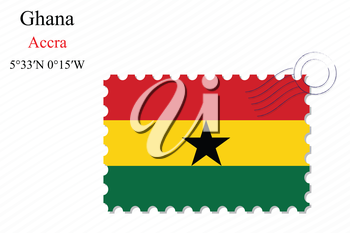 ghana stamp design over stripy background, abstract vector art illustration, image contains transparency
