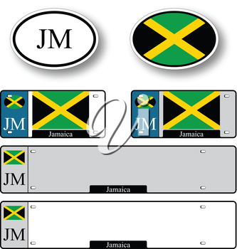 jamaica auto set against white background, abstract vector art illustration, image contains transparency