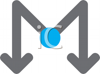 Royalty Free Clipart Image of an M Arrow With a Blue Dot