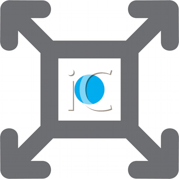 Royalty Free Clipart Image of a Square With Arrows Coming From the Corners