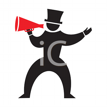Royalty Free Clipart Image of a Man With a Bullhorn