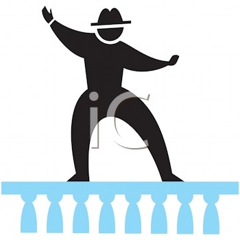 Royalty Free Clipart Image of a Man Walking on a Railing