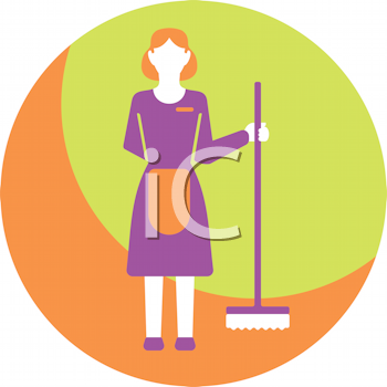 Royalty Free Clipart Image of a Maid With a Broom