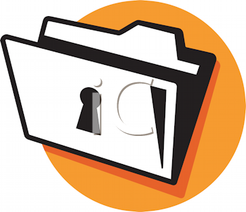 Royalty Free Clipart Image of a File Folder With a Lock